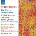 Cover Five Pieces for Orchestra, Cello Concerto (after Monn), Piano Quartet (Brahms orch. Schoenberg)